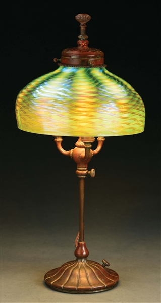 TIFFANY STUDIOS ADJUSTABLE DESK LAMP.