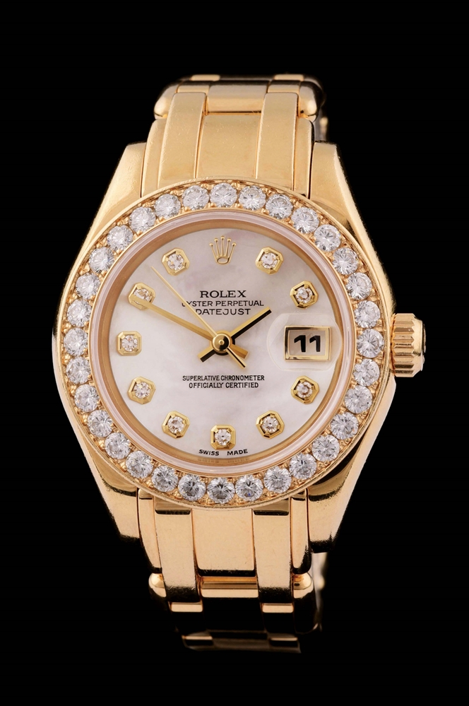 LADIES 18K GOLD ROLEX DIAMOND PEARLMASTER DATEJUST WRISTWATCH W/MOTHER OF PEARL DIAL, REF. 69298.