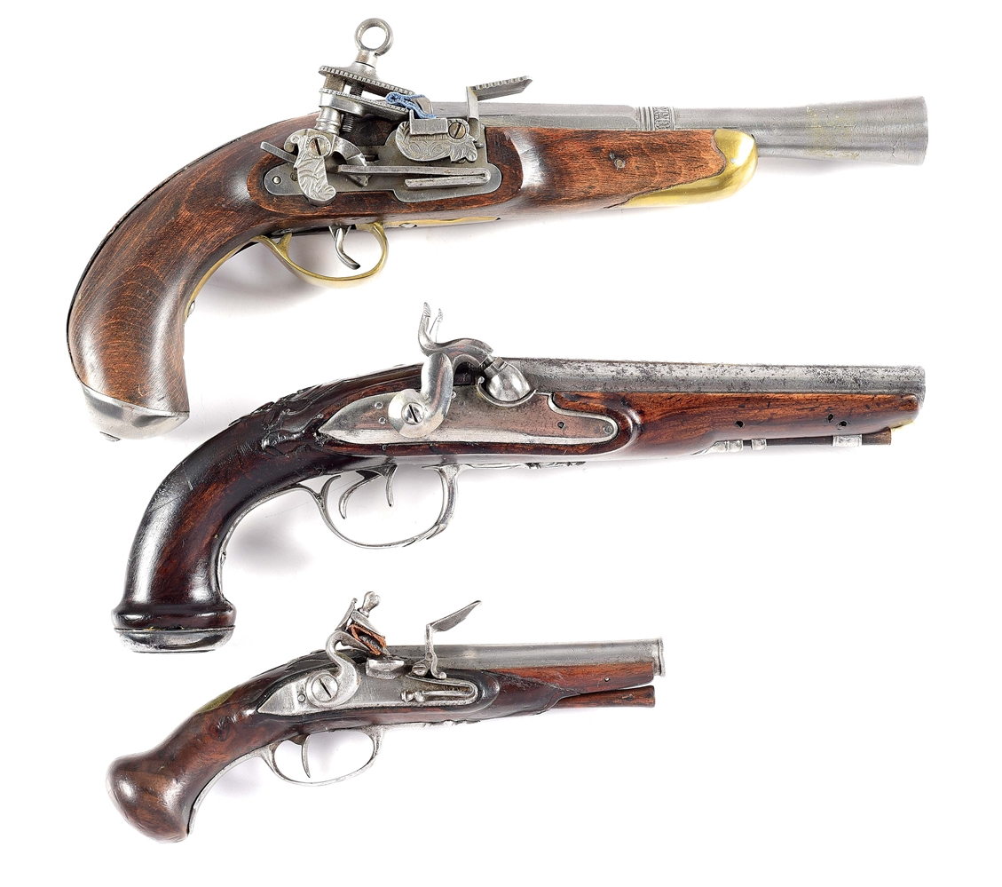 (A) LOT OF 3: TWO FLINTLOCK AND ONE PERCUSSION PISTOLS.