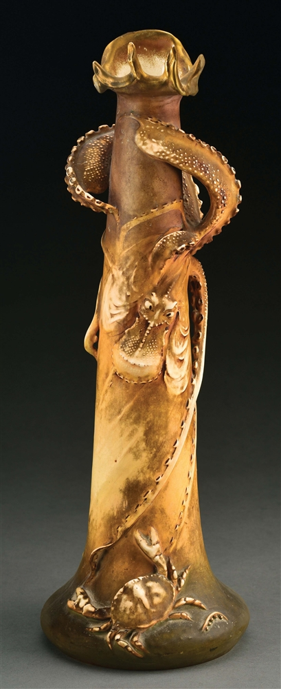 1900 PARIS EXPO AMPHORA OCTOPUS AND CRAB VASE.