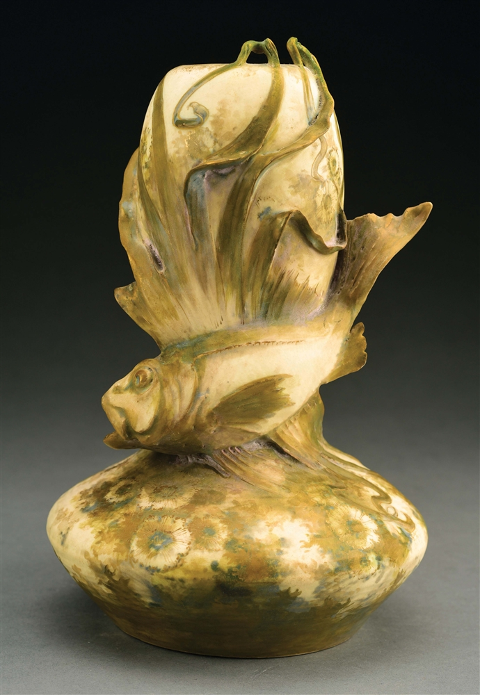 AMPHORA EXOTIC FISH VASE.