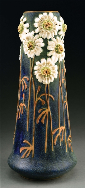 MONUMENTAL AMPHORA APPLIED BUTTERCUP FLOWER VASE.