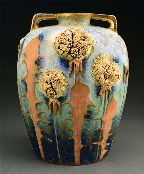 MONUMENTAL AMPHORA CERAMIC DANDELION VASE WITH APPLIED DANDELIONS.