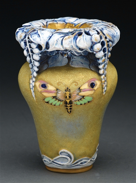 AMPHORA ENAMELED BUTTERFLY AND RETICULATED FLORAL TOP VASE WITH SECESSTIONIST DECORATION.