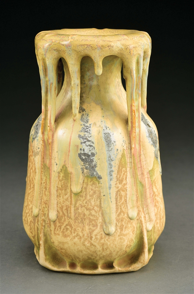 UNIQUE AMPHORA EDDA VASE WITH DRIPPY GLAZES.