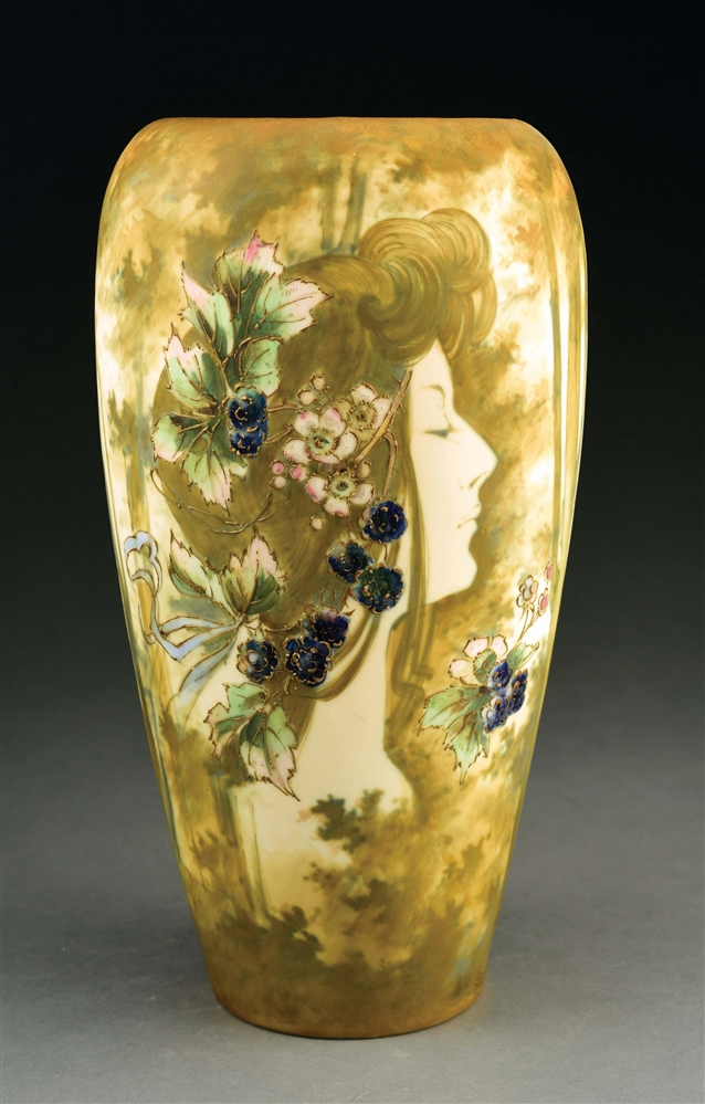 AMPHORA MATTE AND ENAMEL PORTRAIT VASE.