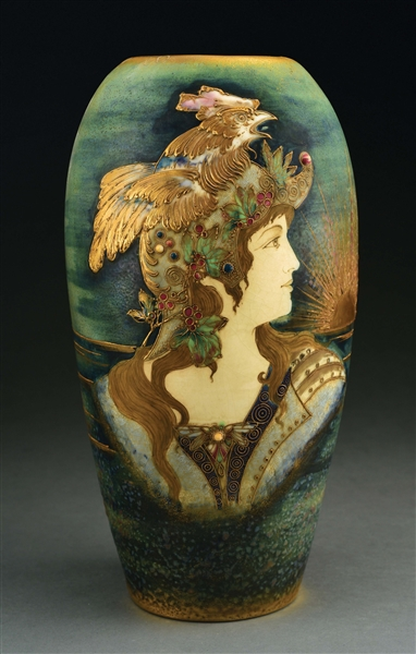 "AMPHORA ""ALLEGORY OF FRANCE"" RISING SUN PORTRAIT VASE."