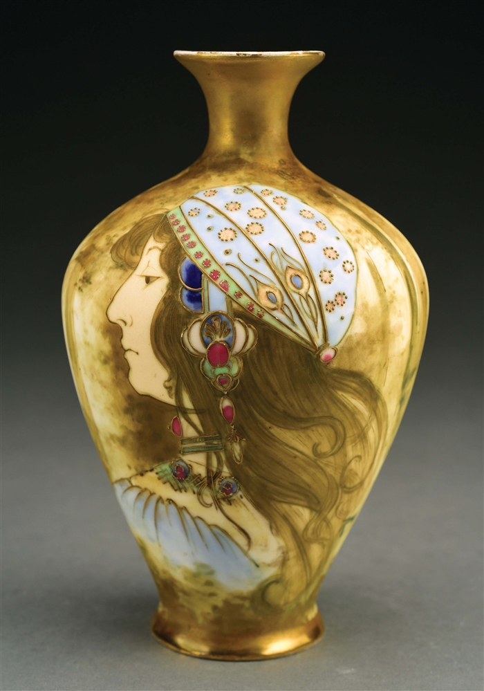 AMPHORA GYPSY WOMAN MATTE AND ENAMEL PORTRAIT VASE.