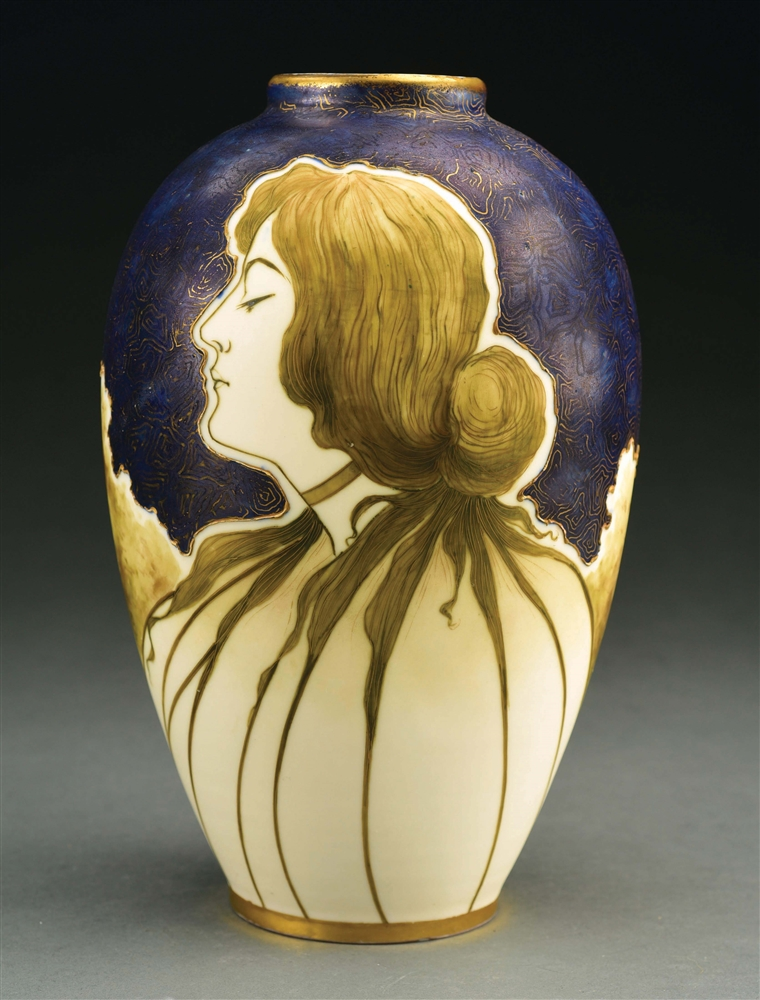 AMPHORA MATTE AND ENAMEL PORTRAIT VASE WITH ENAMELED BUTTERFLY ON REVERSE.