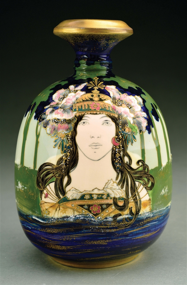 "AMPHORA ""LADY OF THE LAKE"" PORTRAIT VASE."