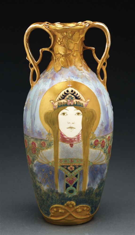 AMPHORA DOUBLE-HANDLED RENAISSANCE PRINCESS PORTRAIT VASE.