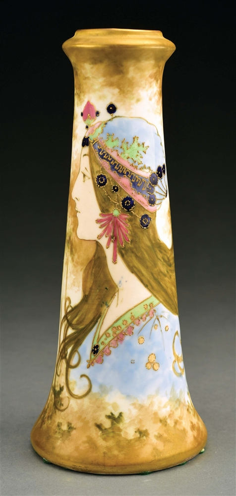 AMPHORA GYPSY GIRL PORTRAIT VASE.