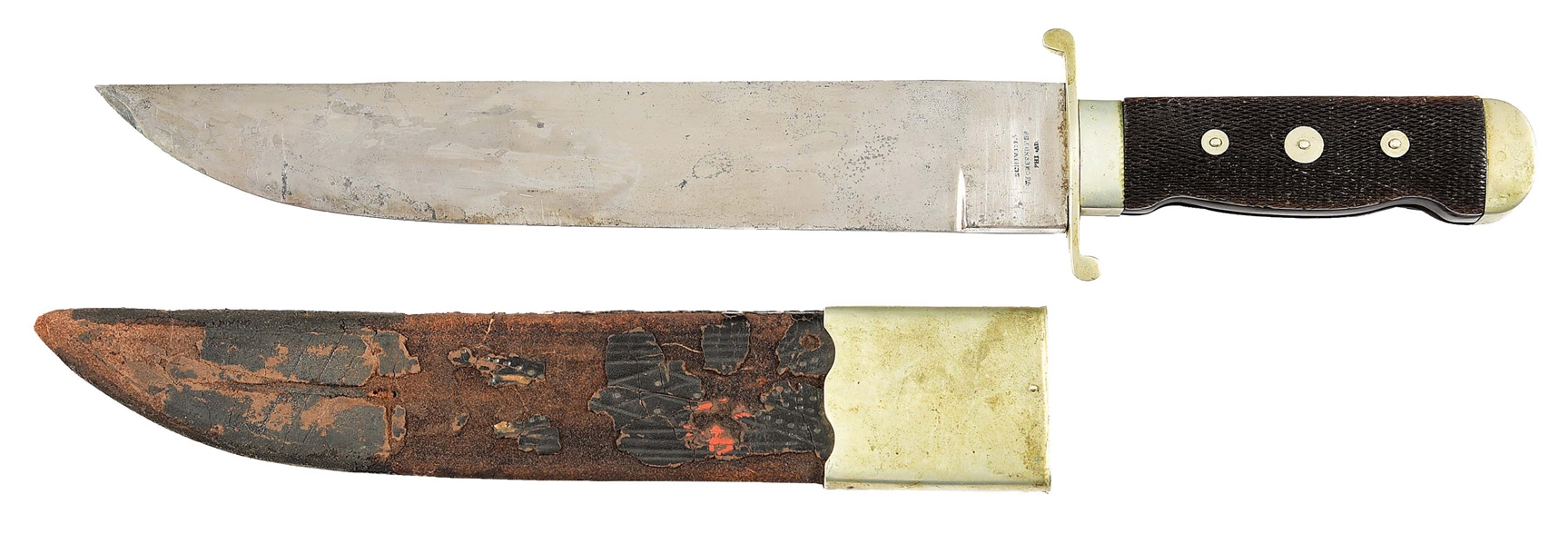 "RARE AND NEWLY DISCOVERED ""IMPROVED PATTERN"" BOWIE KNIFE BY SCHIVELY, PHILADELPHIA."