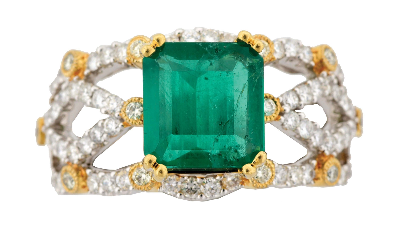 LADYS 18K TWO-TONE GOLD EMERALD AND DIAMOND RING WITH APPRAISAL.