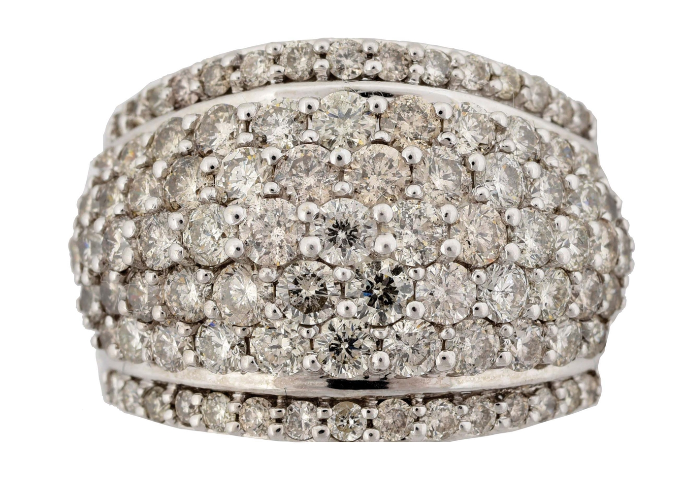LADYS 14K WHITE GOLD DOME-STYLE DIAMOND RING WITH APPRAISAL.
