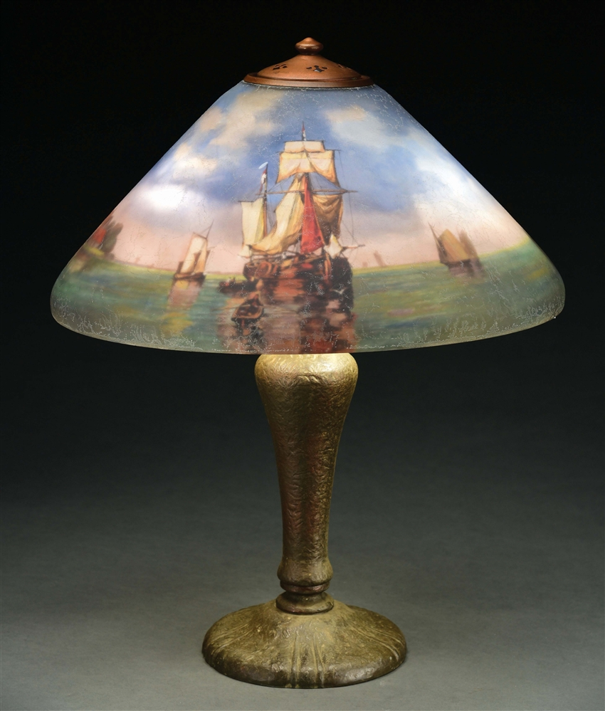REVERSE PAINTED HANDEL 6639 HARBOR TABLE LAMP.