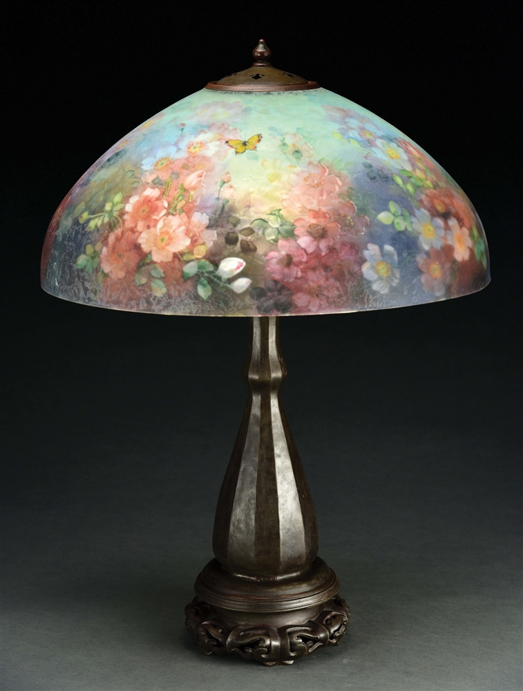 HANDEL BUTTERFLY AND ROSE TABLE LAMP.