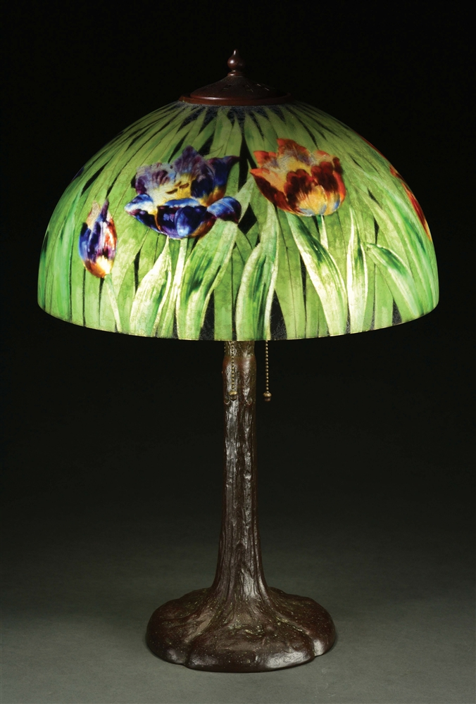 HANDEL TULIP SIGNED PALME #7040 TABLE LAMP.