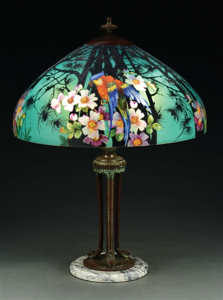 HANDEL REVERSE PAINTED JUNGLE BIRD TABLE LAMP.