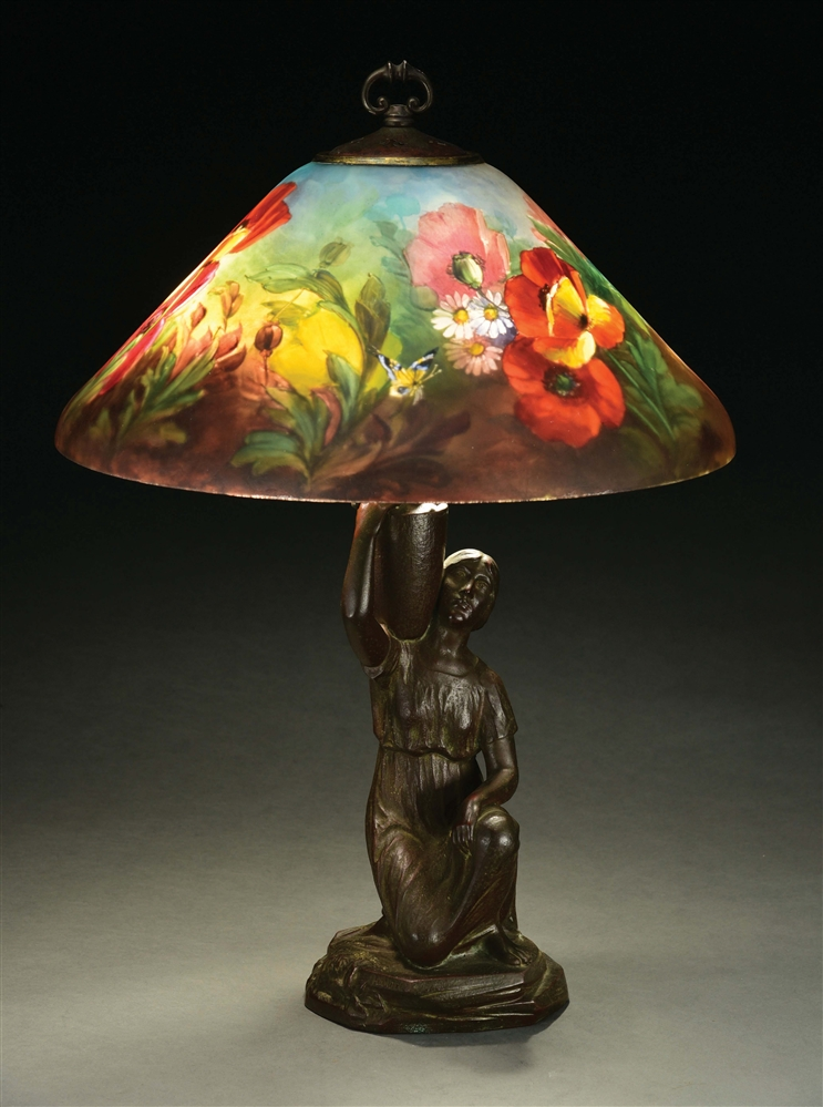HANDEL 7816 POPPIES AND BUTTERFLIES ON FIGURAL LAMP BASE.