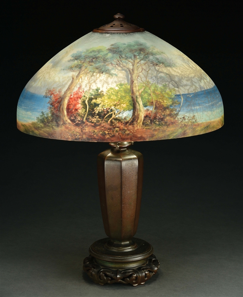 HANDEL 6749 TREES ON WATER TABLE LAMP.