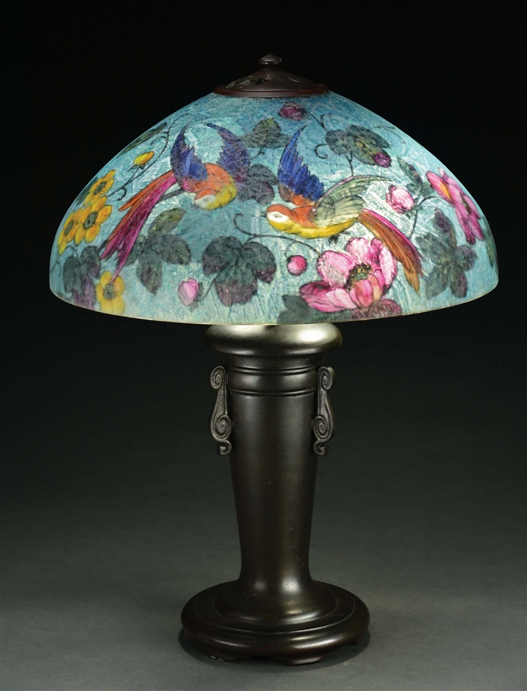 HANDEL 7036 BIRDS OF PARADISE TABLE LAMP.