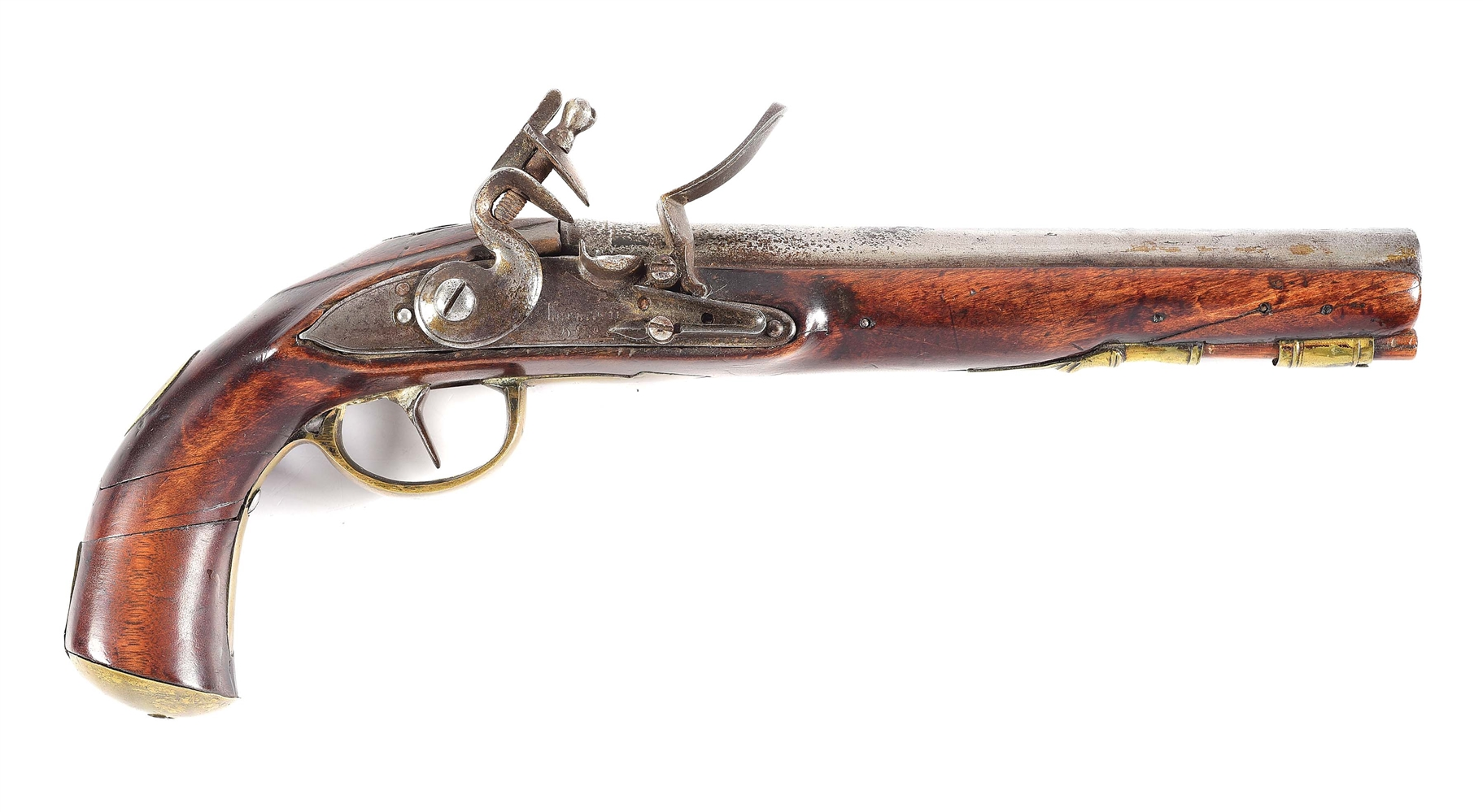 (A) SAMUEL COUTTY US INSPECTED FLINTLOCK MARTIAL PISTOL.