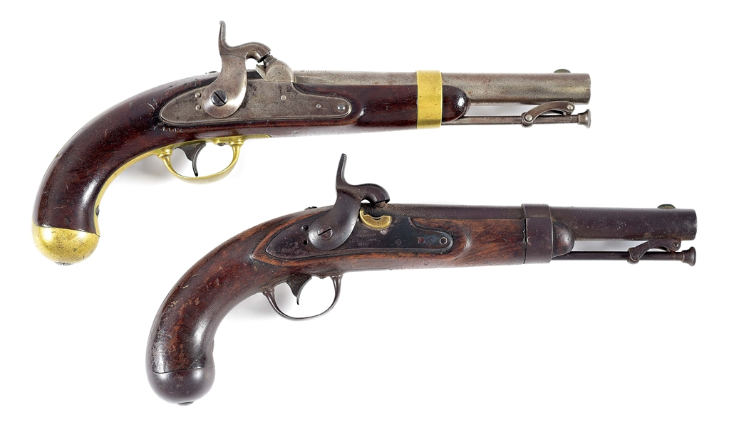 (A) COLLECTORS LOT OF 2: US MARTIAL PISTOLS BY ASTON AND R. JOHNSON PERCUSSION PISTOLS.