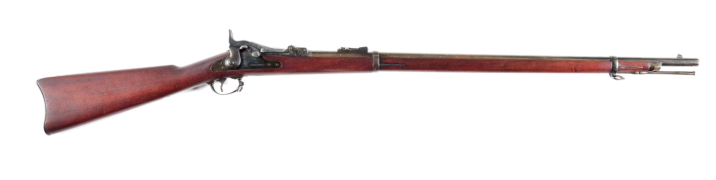 (A) SPRINGFIELD MODEL 1873 TRAPDOOR SINGLE SHOT RIFLE.