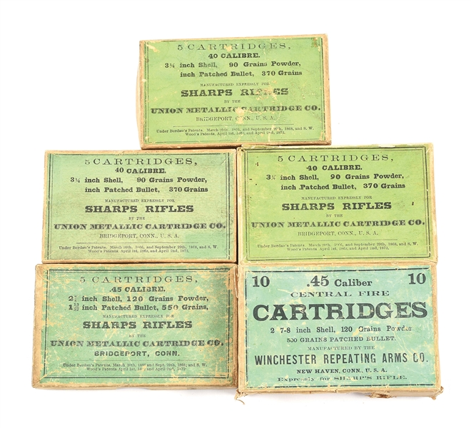 LOT OF FIVE: THREE BOXES OF .40 CALIBER SHARPS AND TWO BOXES OF .45 CALIBER SHARPS.
