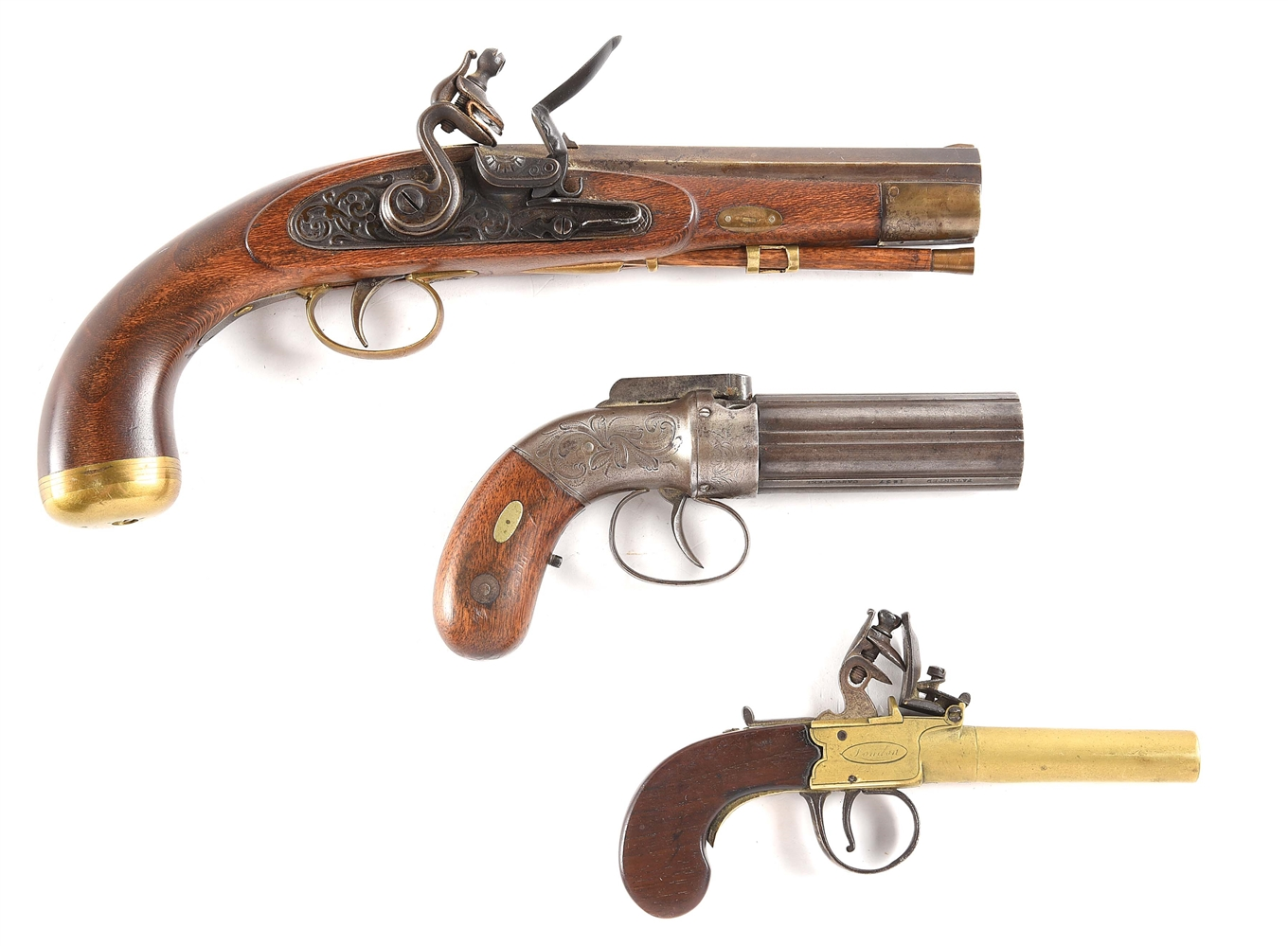 (A) LOT OF 3: UNMARKED FLINTLOCK, ALLEN & THURBER BAR HAMMER, AND H NOCK POCKET PISTOLS.