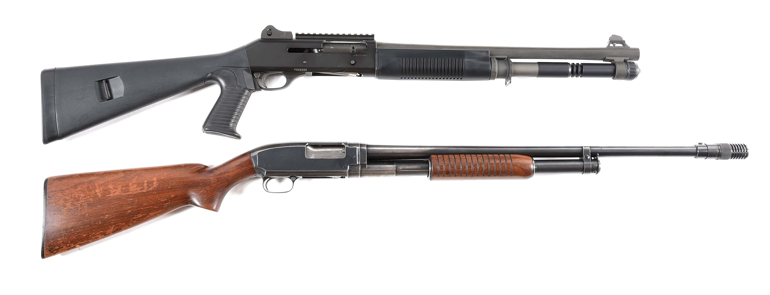 (M+C) LOT OF TWO: BENELLI M4 SEMI AUTOMATIC SHOTGUN AND WINCHESTER MODEL 12 SLIDE ACTION SHOTGUN