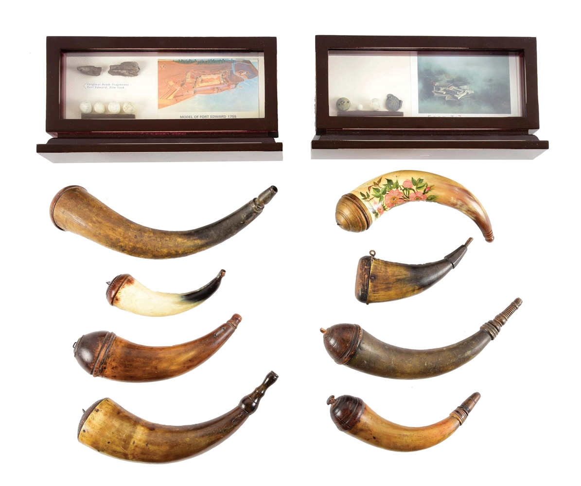 LOT OF 10: 8 POWDER HORNS & 2 RELIC DISPLAYS.
