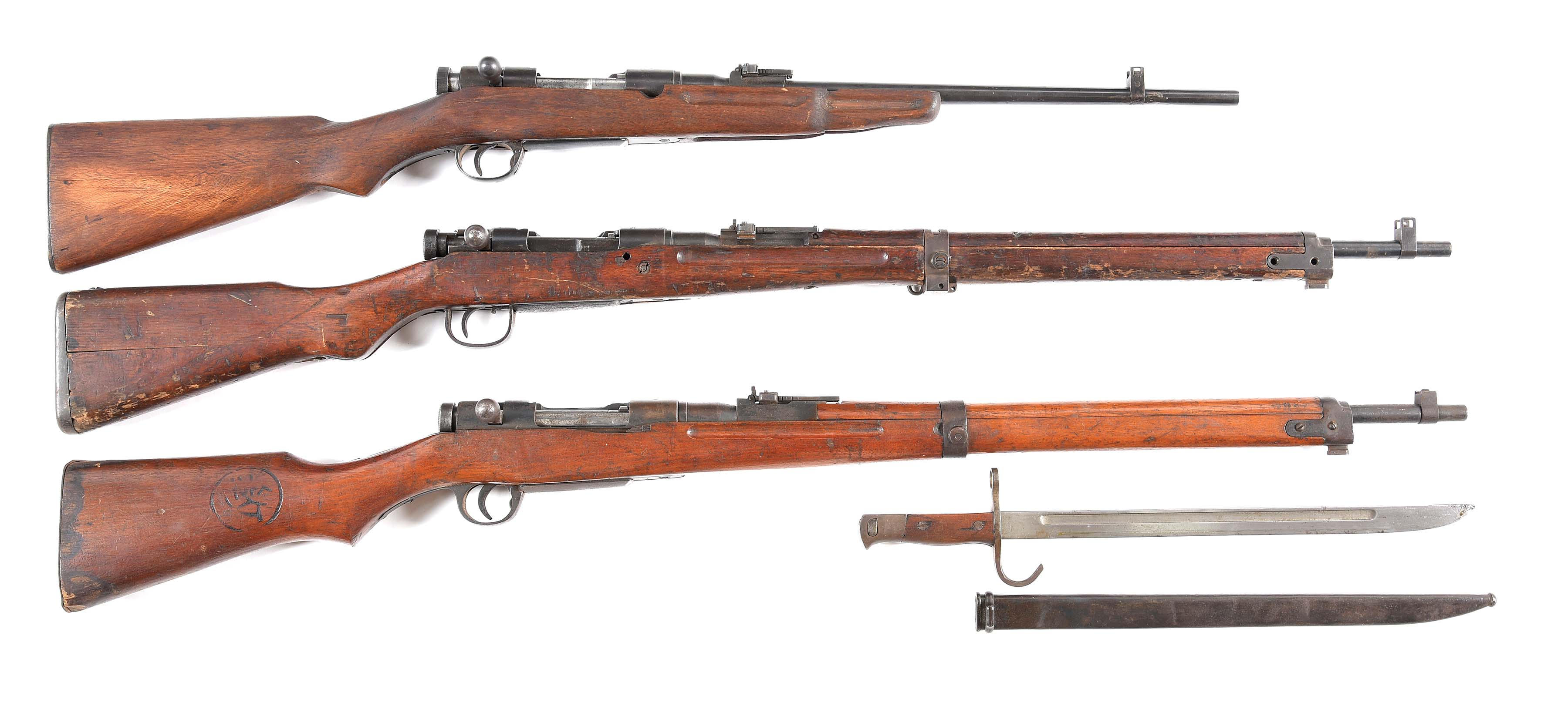 (C) LOT OF THREE: JAPANESE TYPE 44, TYPE 99, & TYPE 99 TRAINER BOLT ACTION...