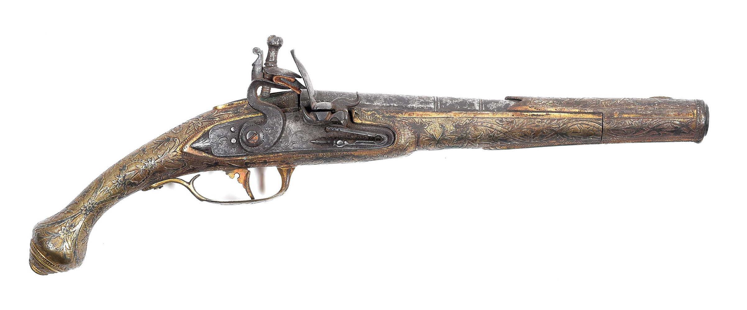 (A) AN OTTOMAN FLINTLOCK PISTOL WITH BRASS STOCK AND EXTENSIVE SILVER INLAY.