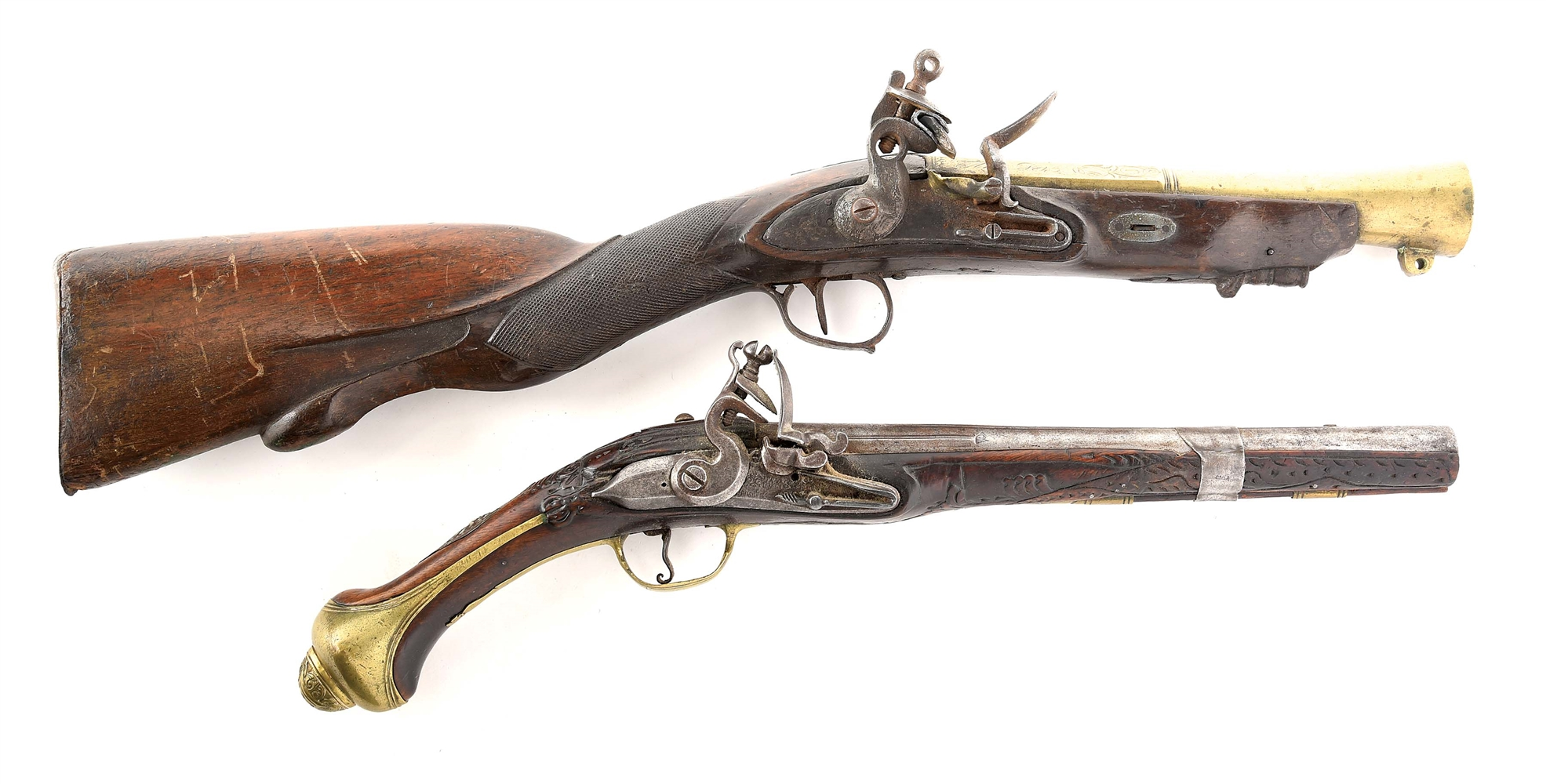 (A) LOT OF 2: ITALIAN FLINTLOCK BLUNDERBUSS AND OTTOMAN FLINTLOCK PISTOL.