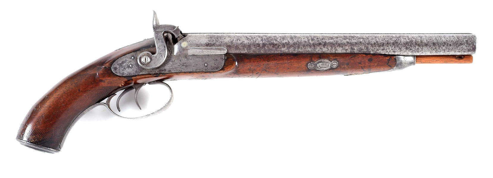 (A) 1850S AMERICAN WESTERN EXPANSION PERIOD COACHGUN BY PERKINS.