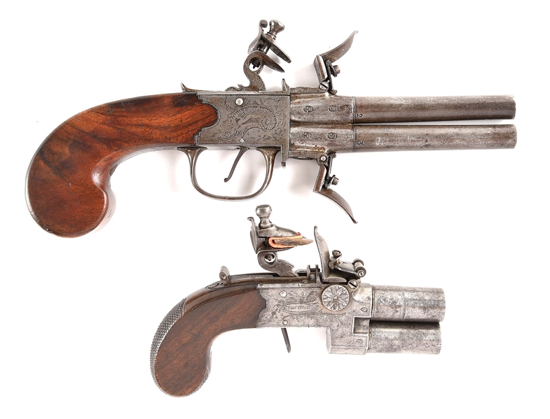 (A) LOT OF TWO: THOMAS SIGNED ENGRAVED SWIVEL BREECH SUPERPOSED FLINTLOCK PISTOL, TOGETHER WITH A FLINTLOCK BECKWITH TAP ACTION PISTOL.