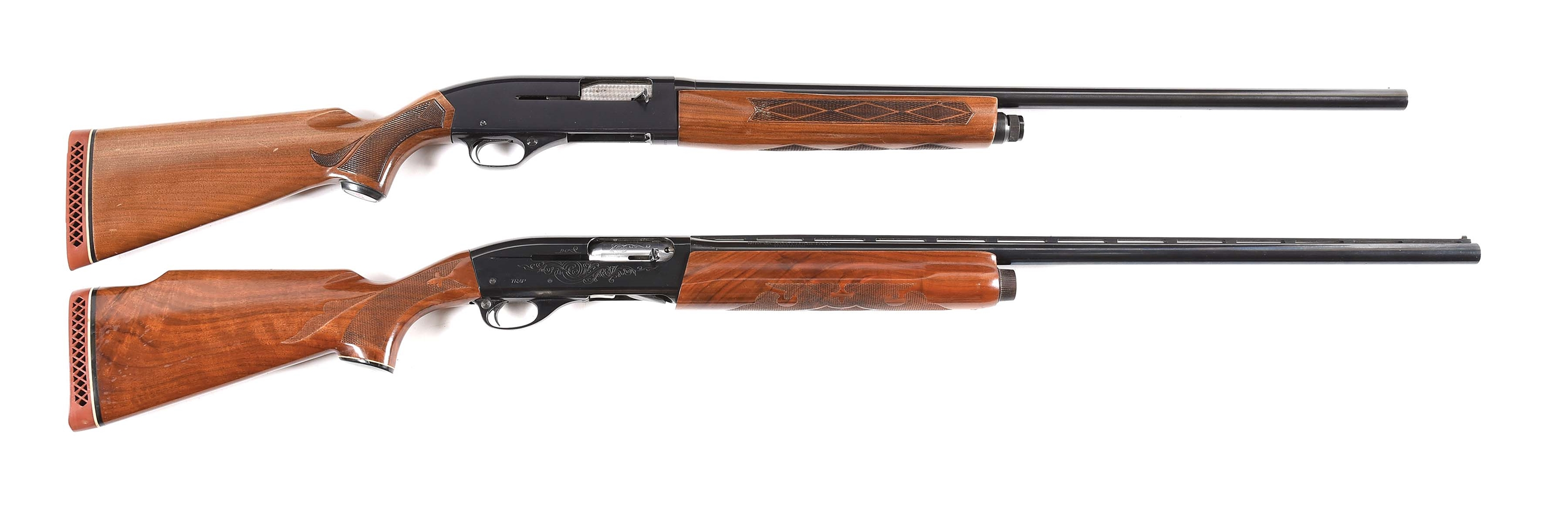 (C) LOT OF 2: WINCHESTER 1400 AND REMINGTON 1100 SEMI AUTOMATIC SHOTGUNS.