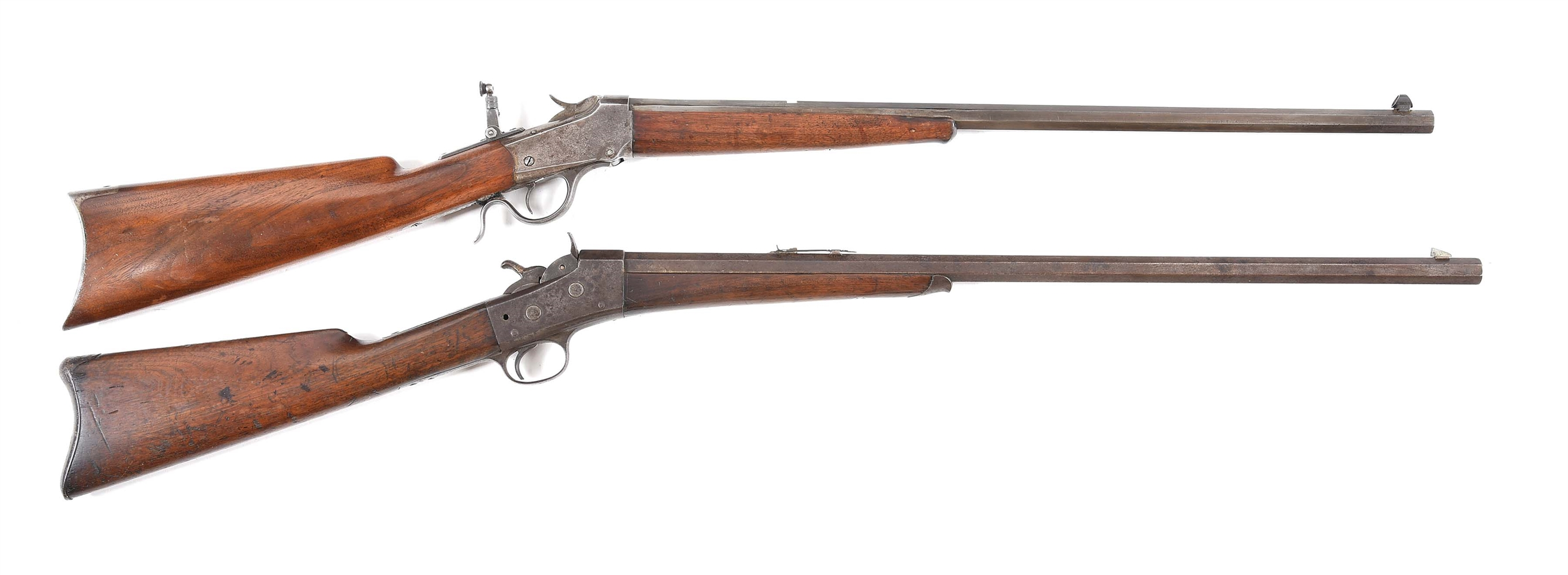 (A) LOT OF 2: WINCHESTER 1885 AND REMINGTON ROLLING BLOCK RIFLES.