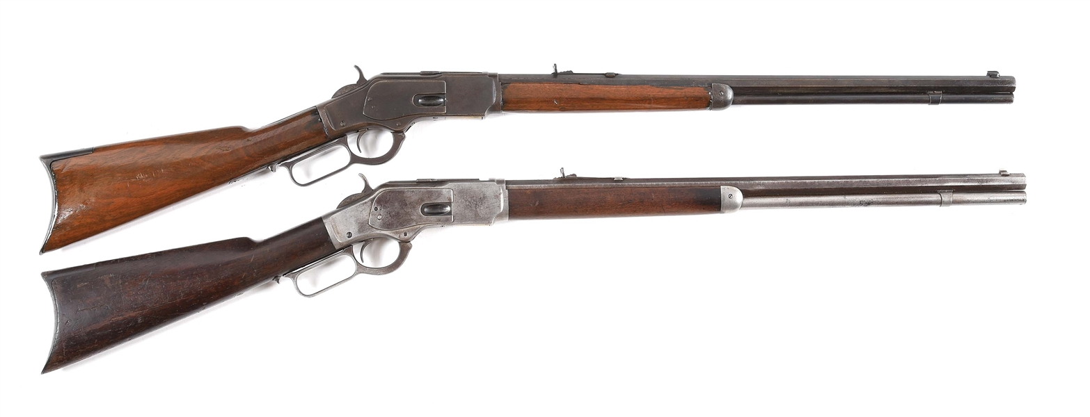 (A) LOT OF 2: WINCHESTER 73 LEVER ACTION RIFLES.