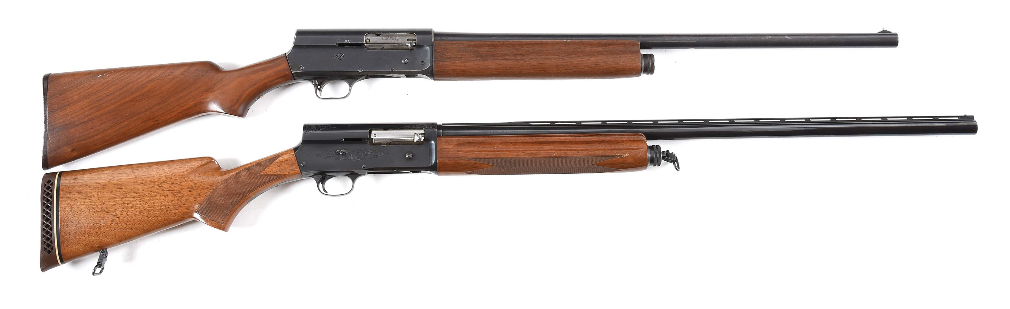 (C) LOT OF 2: SCARCE REMINGTON 11 WITH U.S. MILITARY MARKINGS AND BROWNING A5 SEMI AUTOMATIC SHOTGUNS.