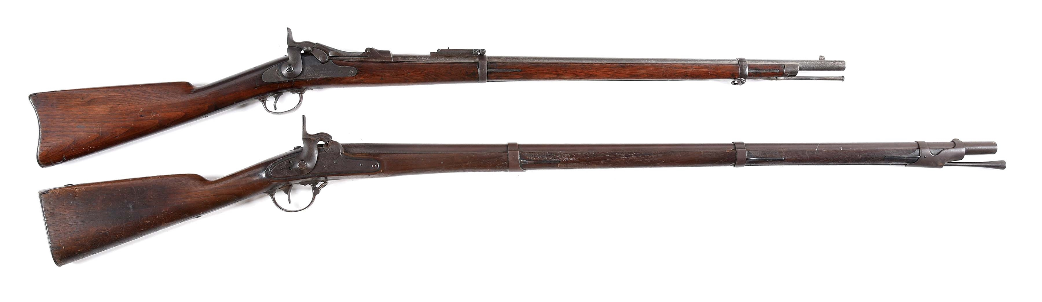 (A) LOT OF 2: SPRINGFIELD 84 AND HARPERS FERRY 1842 PERCUSSION RIFLES.