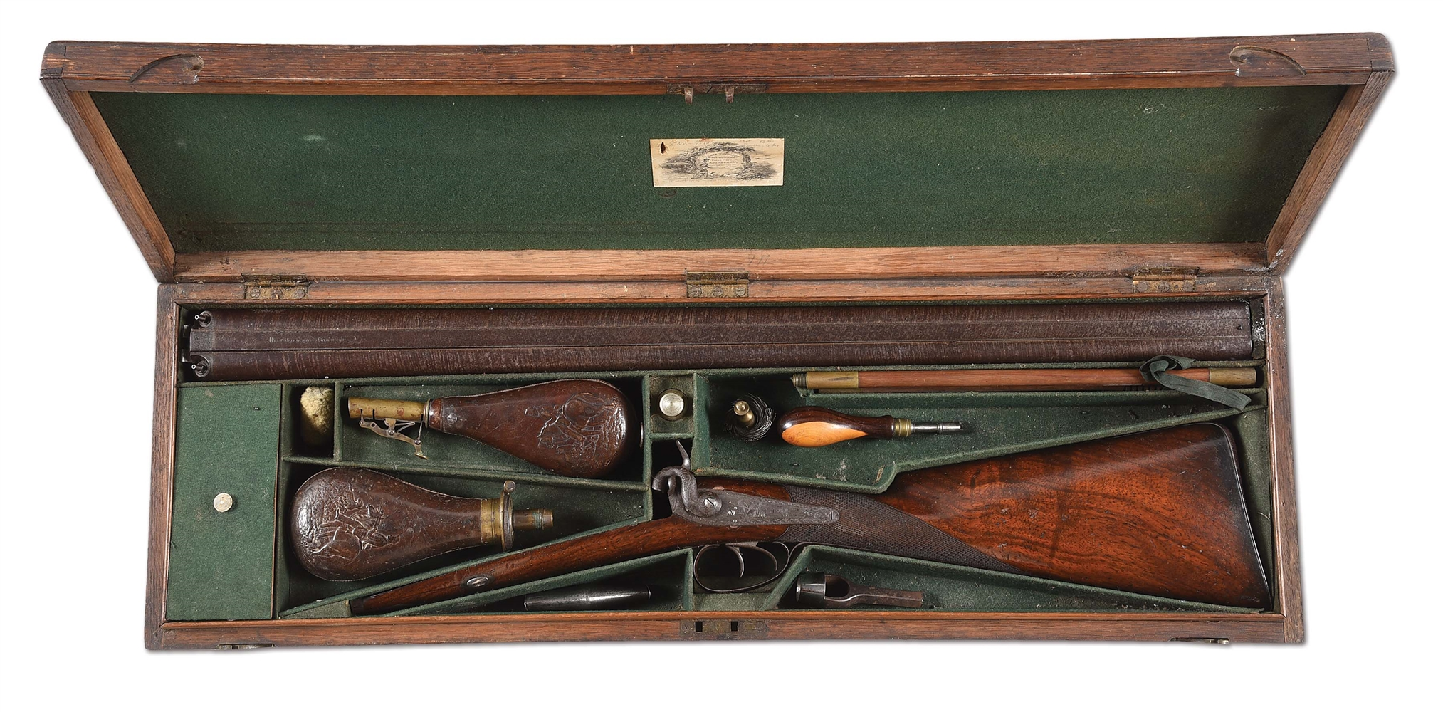 (A) ALEXANDER THOMSON PERCUSSION 11 GAUGE SHOTGUN IN CASE WITH ACCESSORIES.
