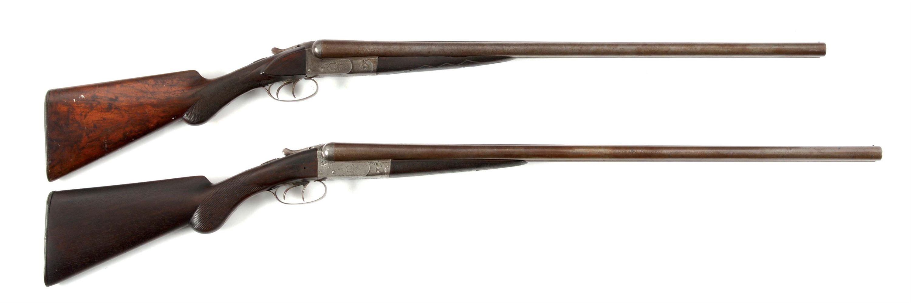 (A) LOT OF TWO: TWO WILKES BARRE SIDE BY SIDE SHOTGUNS.