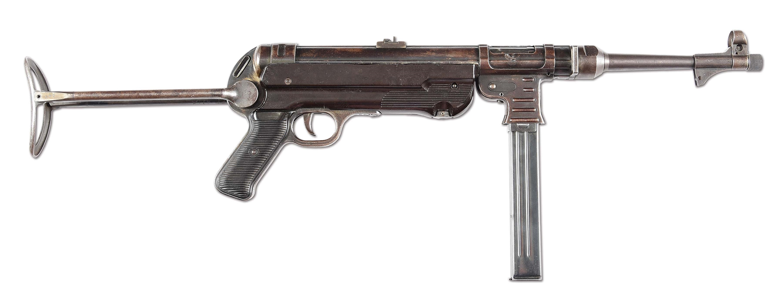 (N) HIGHLY DESIRABLE ORIGINAL MATCHING WWII GERMAN MP-40 MACHINE GUN (CURIO & RELIC).
