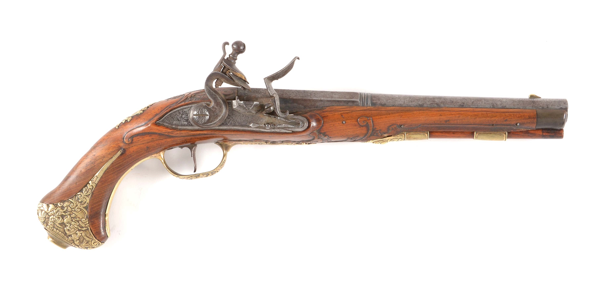 (A) AN ATTRACTIVE THADDAUS (THADDEUS) POLTZ FLINTLOCK PISTOL, ONE OF A PAIR.