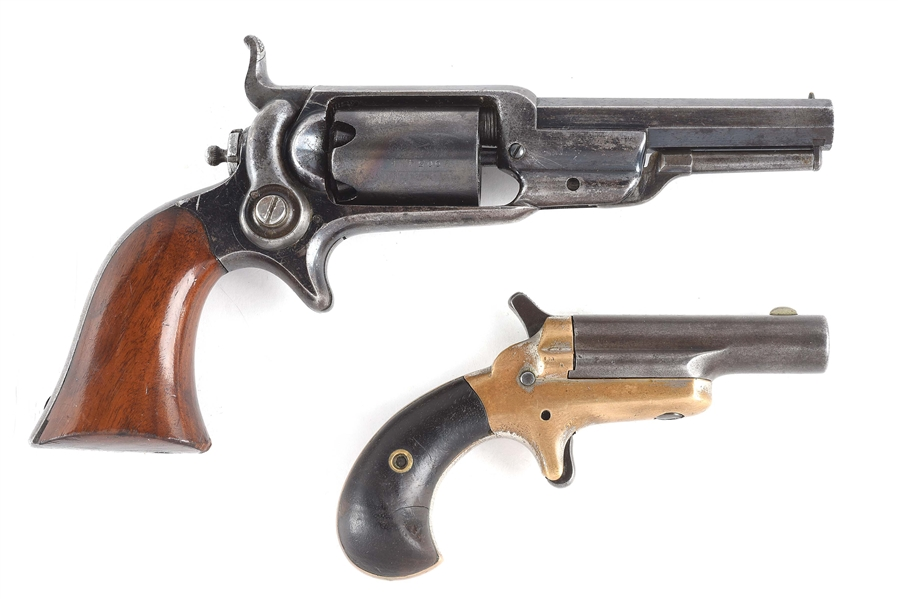 (A) LOT OF TWO COLT HANDGUNS: 1855 ROOT PERCUSSION REVOLVER AND NO.3 SINGLE SHOT