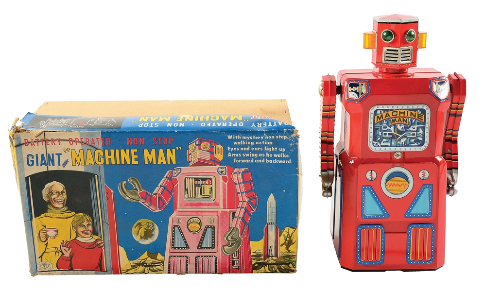 VERY RARE JAPANESE TIN LITHO BATTERY-OPERATED MACHINE MAN ROBOT.