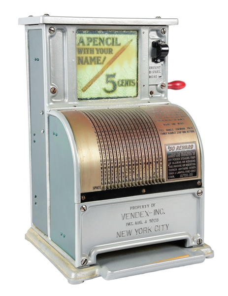 5¢ VENDEX PENCIL VENDING MACHINE.